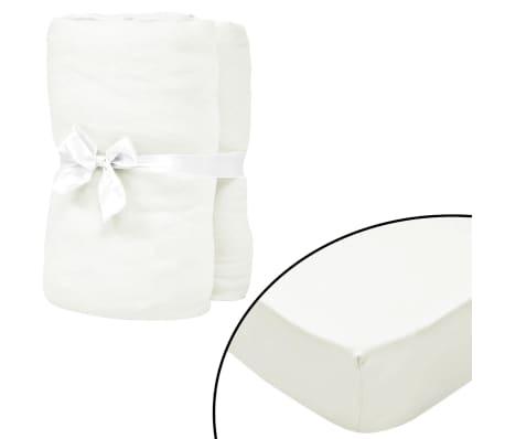 vidaXL Drap-housse pour lit à eau 2 pcs 2x2 m Coton jersey Blanc cassé[1/4]