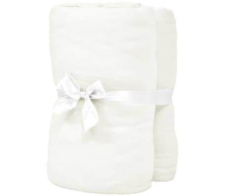 vidaXL Drap-housse pour lit à eau 2 pcs 2x2 m Coton jersey Blanc cassé[2/4]