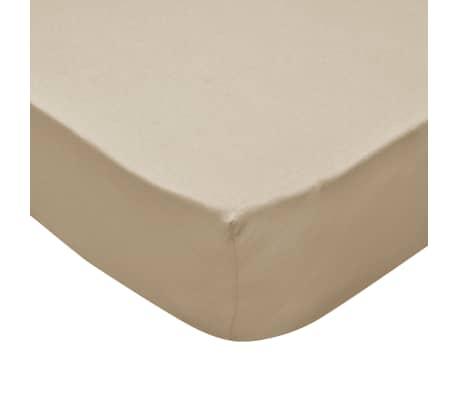 vidaXL Prestieradlá pre vodnú posteľ 2 ks 160x200 cm bavlna béžové[4/4]