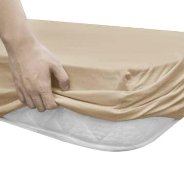 vidaXL Prestieradlá pre vodnú posteľ 2 ks 160x200 cm bavlna béžové[3/4]