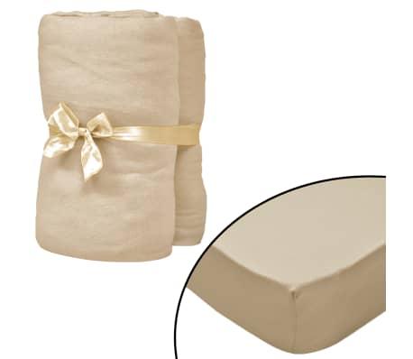 vidaXL Dra-på-lakan för vattensäng 2 st 200x200 cm bomullsjersey beige[1/4]