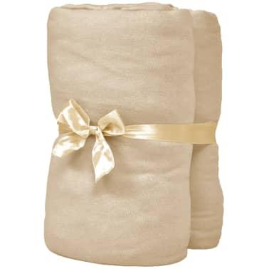 vidaXL Hoeslaken waterbed 200x200 cm katoenen jersey stof beige 2 st[2/4]