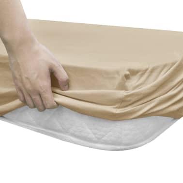 vidaXL Hoeslaken waterbed 200x200 cm katoenen jersey stof beige 2 st[3/4]