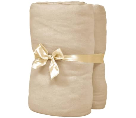 vidaXL Dra-på-lakan för vattensäng 2 st 200x220 cm bomullsjersey beige[2/4]