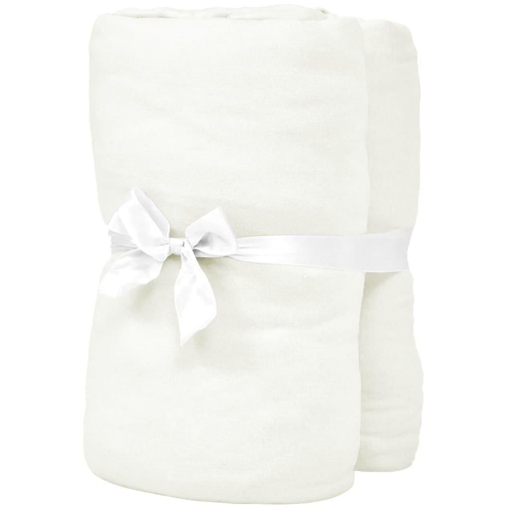 VidaXL - vidaXL Hoeslakens 190x200 cm katoenen jersey stof gebroken wit 2 st