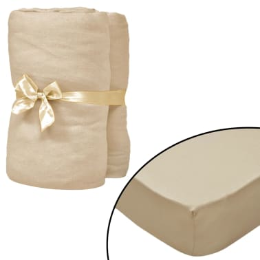 vidaXL Dra-på-lakan 2 st 95x200 cm bomullsjersey beige[1/4]