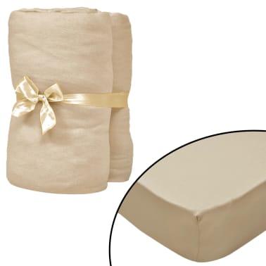vidaXL Dra-på-lakan 2 st 120x200 cm bomullsjersey beige[1/4]