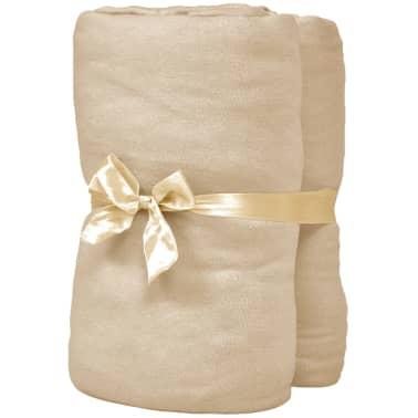 vidaXL Dra-på-lakan 2 st 120x200 cm bomullsjersey beige[2/4]