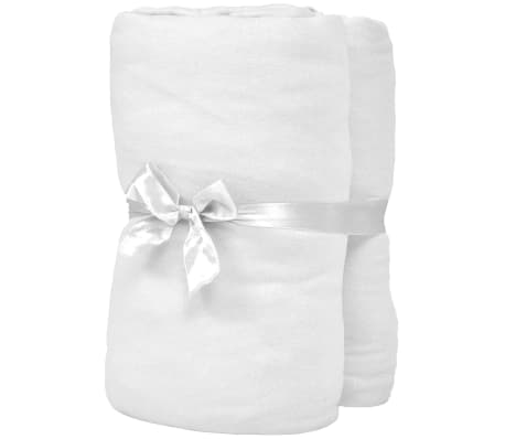 vidaXL Dra-på-lakan för barnsäng 4 st 40x80 cm bomullsjersey vit[2/4]