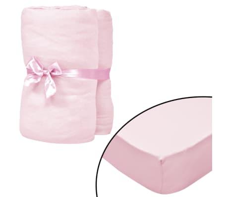 vidaXL Dra-på-lakan för barnsäng 4 st 40x80 cm bomullsjersey rosa[1/4]