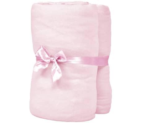 vidaXL Dra-på-lakan för barnsäng 4 st 40x80 cm bomullsjersey rosa[2/4]