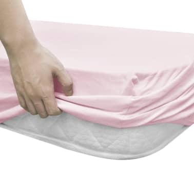 vidaXL Dra-på-lakan för barnsäng 4 st 40x80 cm bomullsjersey rosa[3/4]