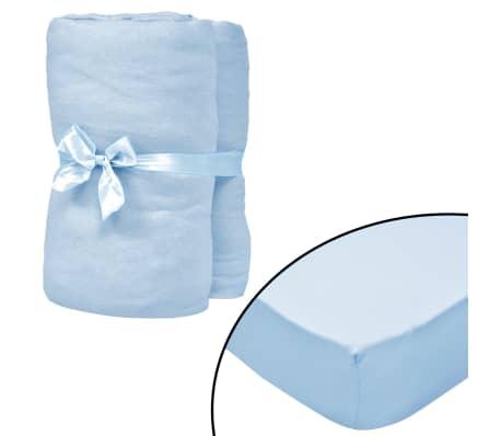 vidaXL Drap-housse pour berceaux 4 pcs Jersey de coton 40x80 cm Bleu[1/4]