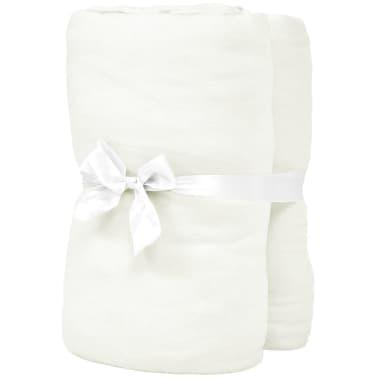 vidaXL Dra-på-lakan för barnsäng 4 st 40x80 cm bomullsjersey naturvit[2/4]
