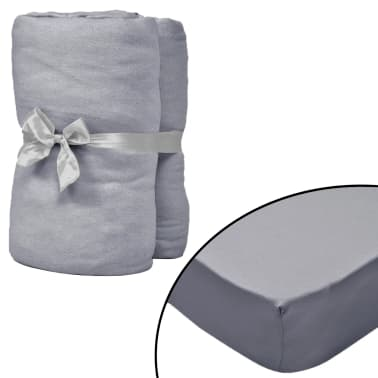 vidaXL Sábana bajera ajustable de cuna 4 pzas algodón 40x80 cm gris[1/4]