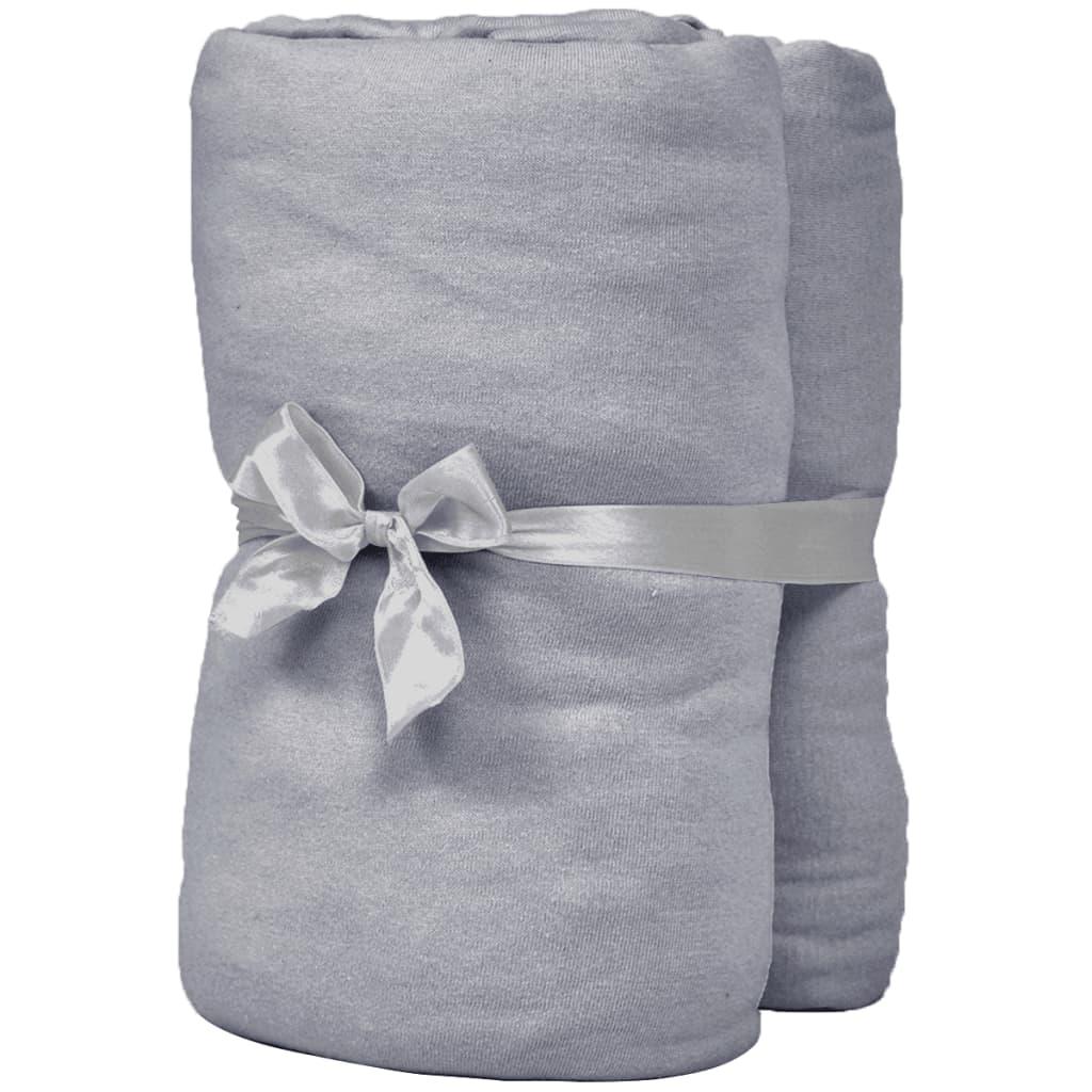 vidaXL Napínací prostěradla do kolébky 4ks bavlna jersey 40x80 cm šedá