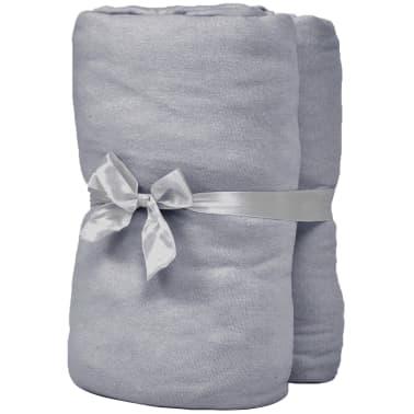 vidaXL Sábana bajera ajustable de cuna 4 pzas algodón 40x80 cm gris[2/4]