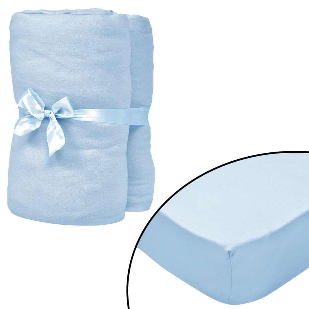 vidaXL Cearșafuri cu elastic pătuț 4 buc bleu jerseu bumbac 60x120 cm imagine vidaxl.ro