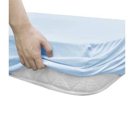 vidaXL Drap-housse pour berceaux 4 pcs Jersey de coton 60x120 cm Bleu[3/4]
