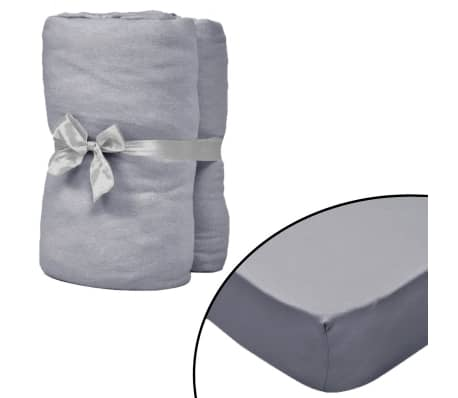 vidaXL Fitted Sheets for Cots 4 pcs Cotton Jersey 60x120 cm Grey