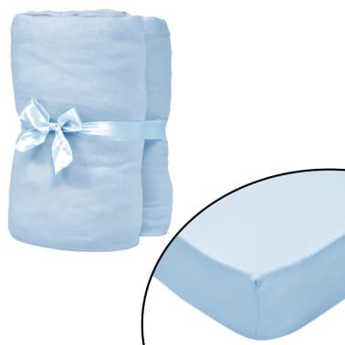 vidaXL Drap-housse pour berceaux 4 pcs Jersey de coton 70x140 cm Bleu[1/4]