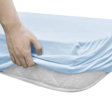 vidaXL Drap-housse pour berceaux 4 pcs Jersey de coton 70x140 cm Bleu[3/4]