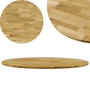 vidaXL Okrągły blat do stolika z litego drewna dębowego, 23 mm, 400 mm[1/5]
