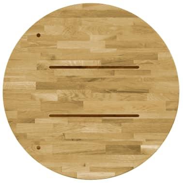 vidaXL Okrągły blat do stolika z litego drewna dębowego, 23 mm, 400 mm[3/5]
