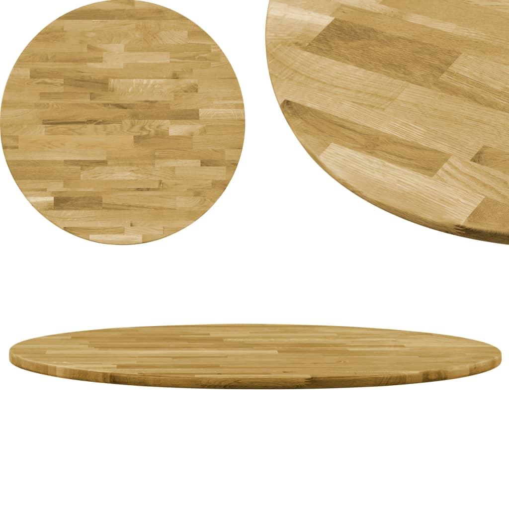 vidaXL Blat de masă, lemn masiv de stejar, rotund, 23 mm, 500 mm poza vidaxl.ro
