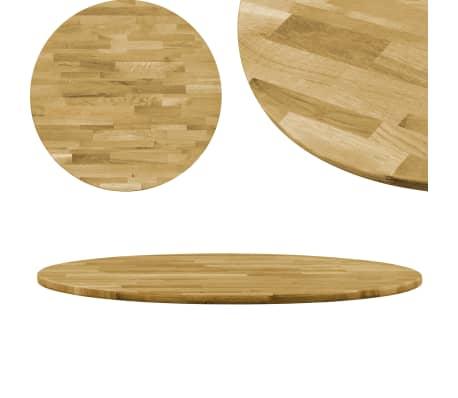 vidaXL Stalviršis, masyvi ąžuolo mediena, apvalus, 23mm, 600mm