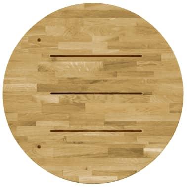 vidaXL Površina za mizo trden hrastov les okrogla 23 mm 600 mm[3/5]