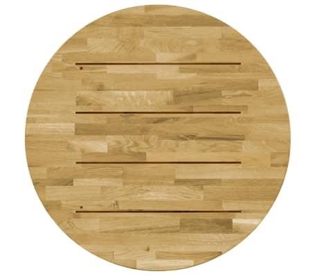 vidaXL Površina za mizo trden hrastov les okrogla 23 mm 800 mm[3/5]
