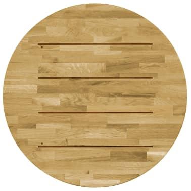 vidaXL Stalviršis, masyvi ąžuolo mediena, apvalus, 23mm, 800mm[3/5]