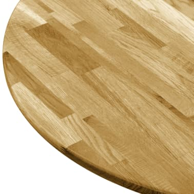 vidaXL Površina za mizo trden hrastov les okrogla 23 mm 800 mm[4/5]