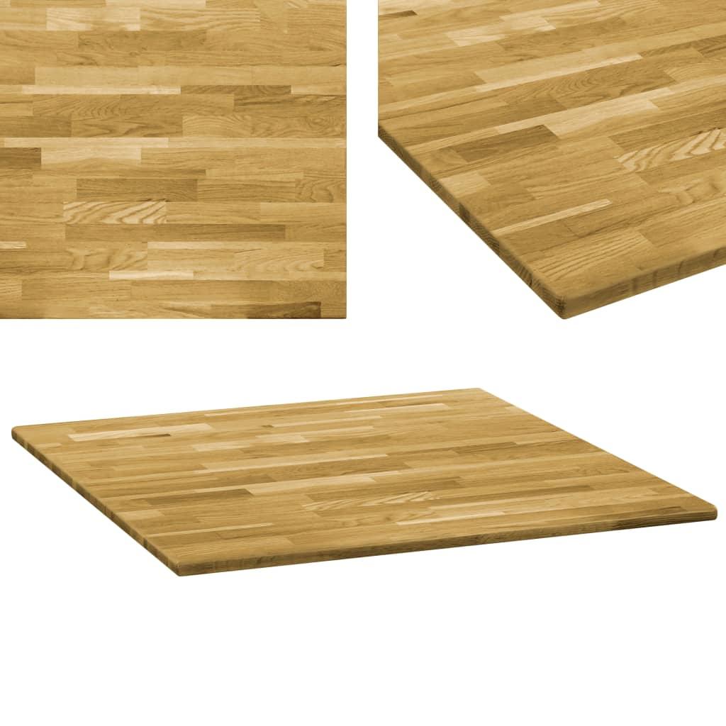 vidaXL Stolní deska z dubového masivu čtvercová 23 mm 70 x 70 cm