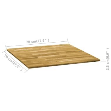 vidaXL Površina za mizo trden hrastov les kvadratna 23 mm 70x70 cm[5/5]