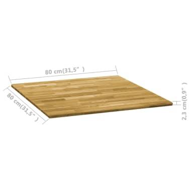 vidaXL Površina za mizo trden hrastov les kvadratna 23 mm 80x80 cm[5/5]