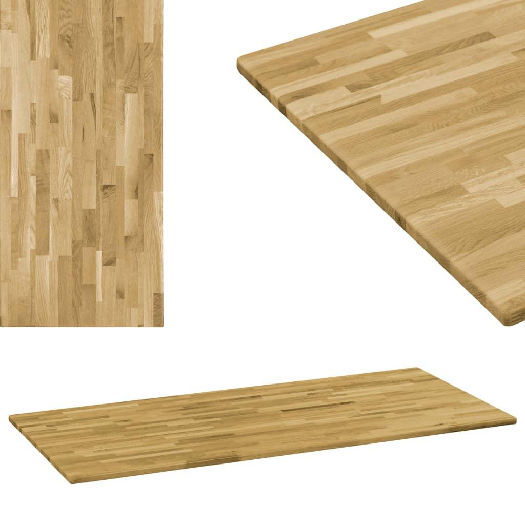 vidaXL Blat masă, lemn masiv de stejar, dreptunghiular, 23mm 100x60cm poza vidaxl.ro