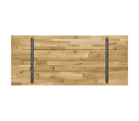 vidaXL Površina za mizo trden hrastov les pravokotna 23 mm 100x60 cm[3/5]