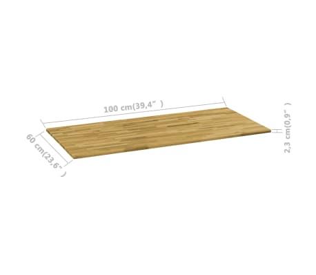 vidaXL Površina za mizo trden hrastov les pravokotna 23 mm 100x60 cm[5/5]