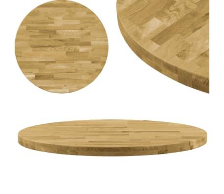 vidaXL Плот за маса, дъб масив, кръгъл, 44 мм, 400 мм[1/5]