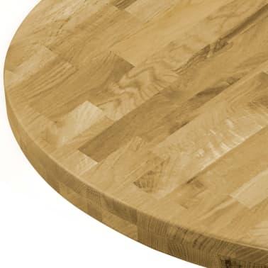 vidaXL Плот за маса, дъб масив, кръгъл, 44 мм, 400 мм[4/5]
