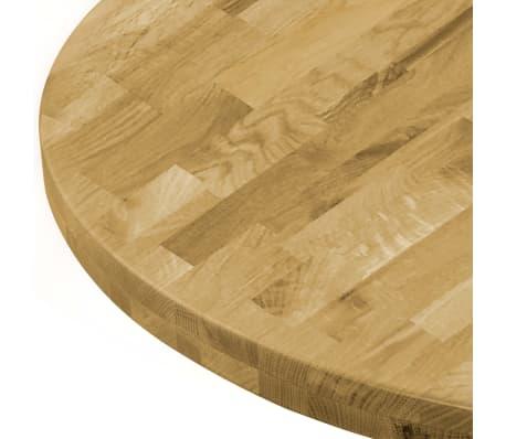 vidaXL Površina za mizo trden hrastov les okrogla 44 mm 500 mm[4/5]
