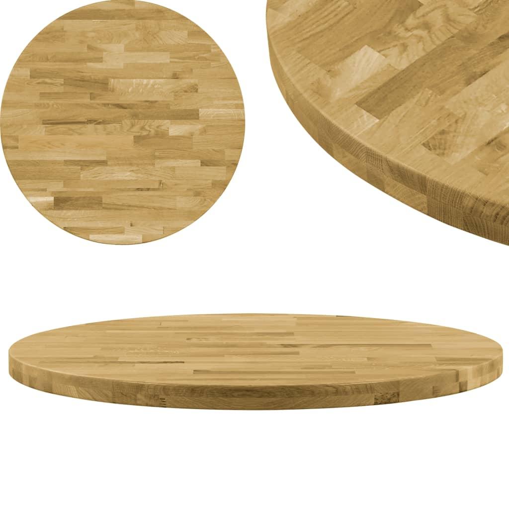 vidaXL Blat de masă, lemn masiv de stejar, rotund, 44 mm, 600 mm poza vidaxl.ro