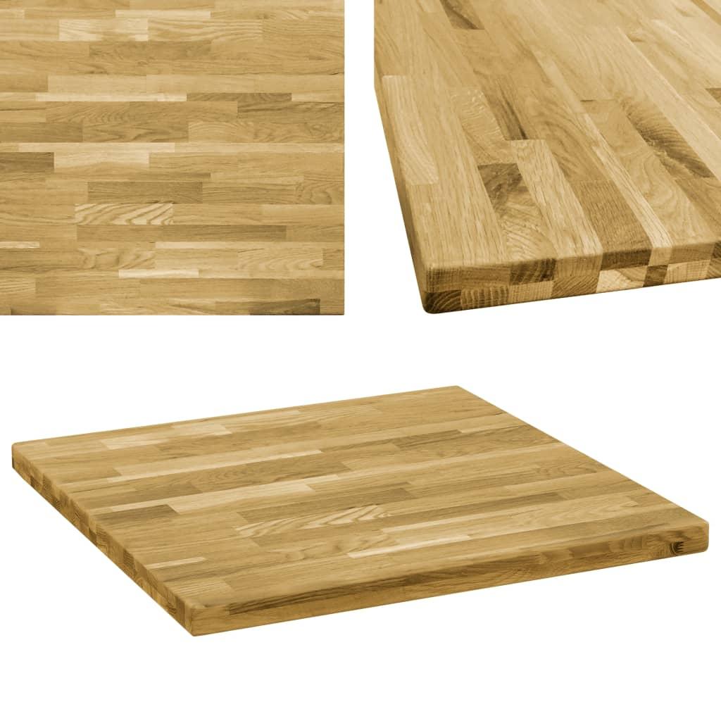 vidaXL Blat de masă, lemn masiv de stejar, pătrat, 44 mm, 70x70 cm imagine vidaxl.ro