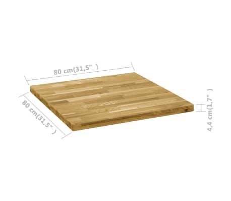 vidaXL Površina za mizo trden hrastov les kvadratna 44 mm 80x80 cm[5/5]