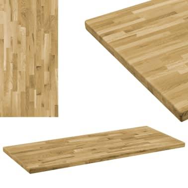vidaXL Površina za mizo trden hrastov les pravokotna 44 mm 100x60 cm[1/5]