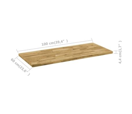vidaXL Površina za mizo trden hrastov les pravokotna 44 mm 100x60 cm[5/5]