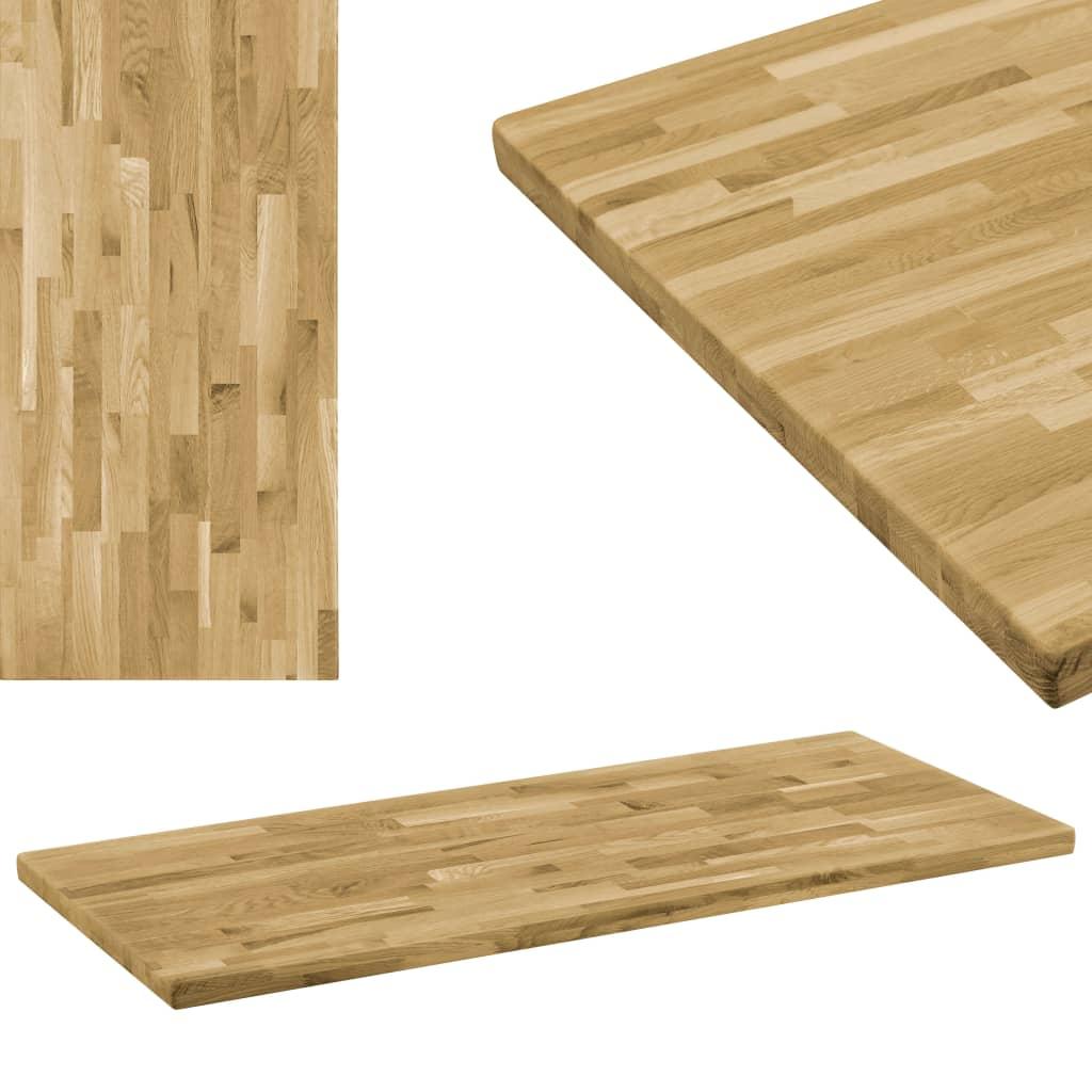 vidaXL Blat masă, lemn masiv de stejar, dreptunghiular, 44mm 120x60cm poza 2021 vidaXL