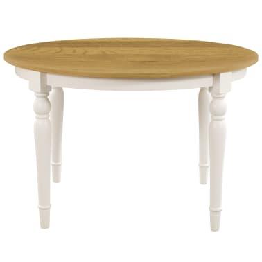 vidaXL Valgomojo stalas, apvalus, 120x75cm, ąžuolo medienos masyvas[3/6]